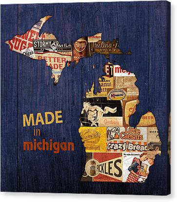 Made In Michigan Products Vintage Map On Wood Canvas Print by Design Turnpike