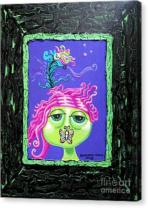 Mademoiselle Flutterby Canvas Print by Genevieve Esson