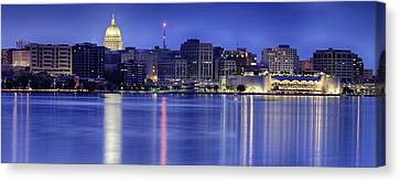 Madison Skyline Reflection Canvas Print by Sebastian Musial