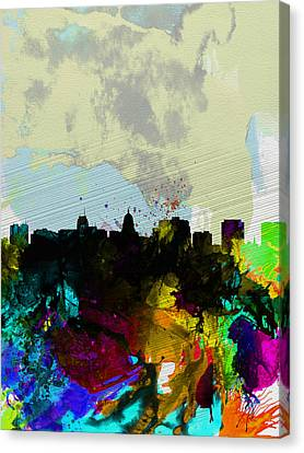 Madison Watercolor Skyline Canvas Print by Naxart Studio