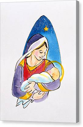 Madonna And Child Canvas Print by Diane Matthes