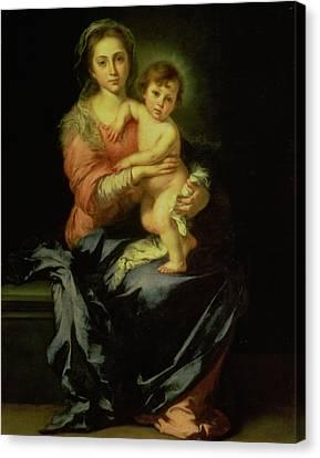Madonna And Child Canvas Print by Bartolome Esteban Murillo