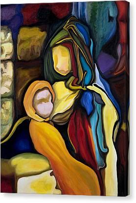 Madonna And Child Canvas Print by Maria Pureza Escano