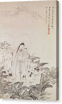 Madonna And Child Pen & Ink On Paper Canvas Print by Chinese School