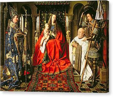 Madonna And Child With Canon Joris Van Der Paele Canvas Print by Jna Van Eyck