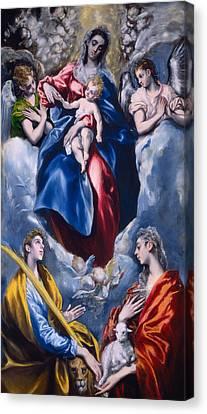 Madonna And Child With Saint Martina And Saint Agnes Canvas Print by  El Greco Domenico Theotocopuli