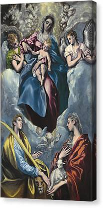 Madonna And Child With Saint Martina And Saint Agnes Canvas Print by Celestial Images