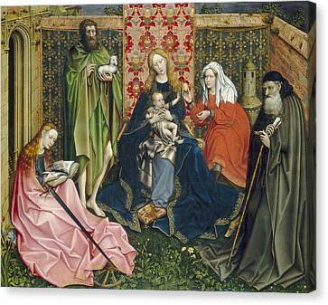 Madonna And Child With Saints In The Enclosed Garden Canvas Print by Master of Flemalle