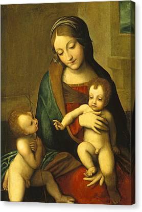 Madonna And Child With The Infant Saint John Canvas Print by Antonio Allegri Correggio