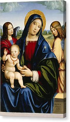 Madonna And Child With Two Angels Canvas Print by Francesco Francia