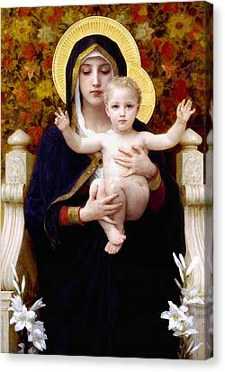 Madonna Of Lilies Canvas Print by Bouguereau