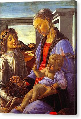 Madonna With Child Canvas Print by Vintage Christmas Card