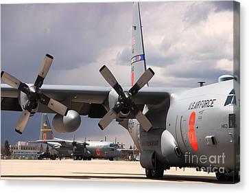 Canvas Print featuring the photograph Maffs C-130s At Cheyenne by Bill Gabbert