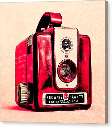 Magenta Brownie Hawkeye - Square Canvas Print by Jon Woodhams
