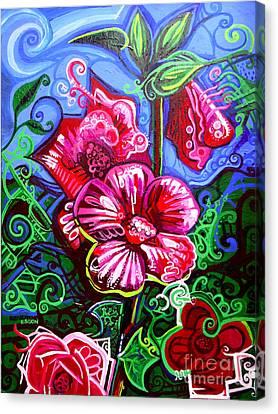 Magenta Fleur Symphonic Zoo I Canvas Print by Genevieve Esson