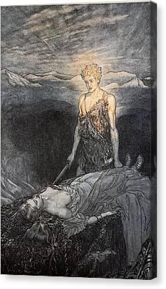 Magical Rapture Pierces My Heart; Fixed Canvas Print by Arthur Rackham
