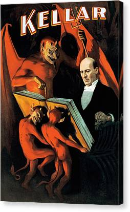 Magician Harry Kellar And Demons  Canvas Print by Jennifer Rondinelli Reilly - Fine Art Photography