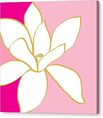 Magnolia 2- Colorful Floral Painting Canvas Print by Linda Woods