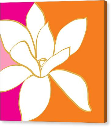 Magnolia 3- Colorful Flower Art Canvas Print by Linda Woods