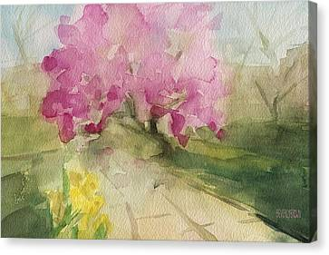 Magnolia Tree Central Park Watercolor Landscape Painting Canvas Print by Beverly Brown