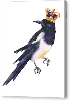 Magpie Watercolor Canvas Print by Alison Fennell
