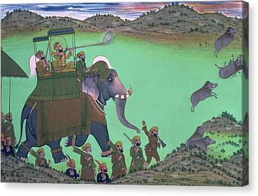 Maharana Sarup Singh Of Udaipur Shooting Boar From Elephant-back, Rajasthan, 1855  Canvas Print by Indian School