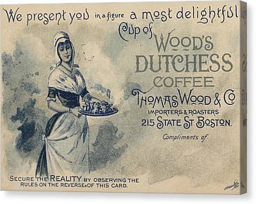 Maid Serving Coffee Advertisement For Woods Duchess Coffee Boston  Canvas Print by American School