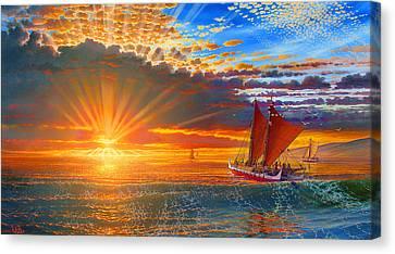 Maiden Voyage Of The Mo'okiha O Pi'ilani Canvas Print by Loren Adams