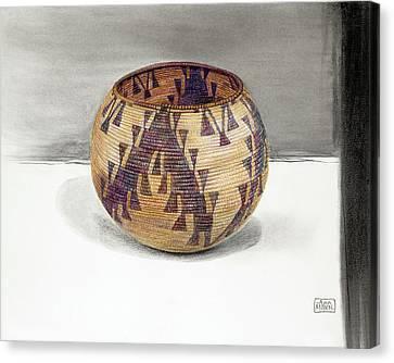 Maidu Geese Flying Basket Canvas Print by Ann Miller