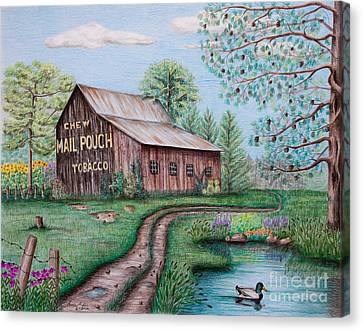 Mail Pouch Tobacco Barn Canvas Print by Lena Auxier