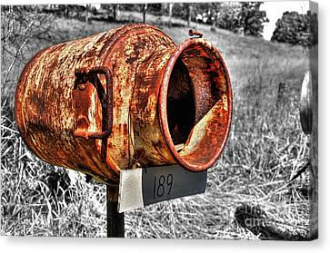 Mailbox With Character Canvas Print by Kaye Menner