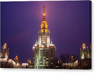 Main Building Of Moscow State University At Winter Evening - Featured 3 Canvas Print by Alexander Senin
