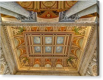 Main Hall Ceiling Library Of Congress Canvas Print by Susan Candelario