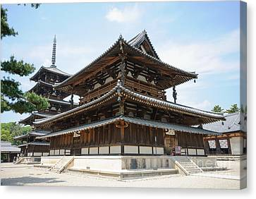 Main Hall Of Horyu-ji - World's Oldest Wooden Building Canvas Print by David Hill