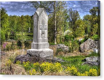 Maine At Gettysburg - 5th Maine Volunteer Infantry Regiment Just North Of Little Round Top Canvas Print by Michael Mazaika