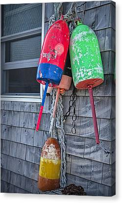 Maine Fishing Bouys No. 033 Canvas Print by Randall Nyhof