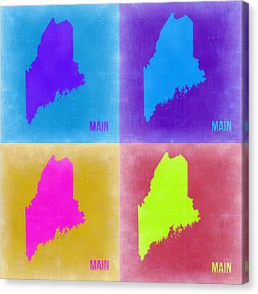 Maine Pop Art Map 2 Canvas Print by Naxart Studio