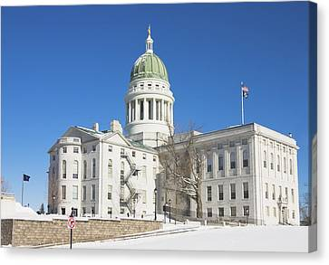Maine State Capitol Building In Winter Augusta Canvas Print by Keith Webber Jr