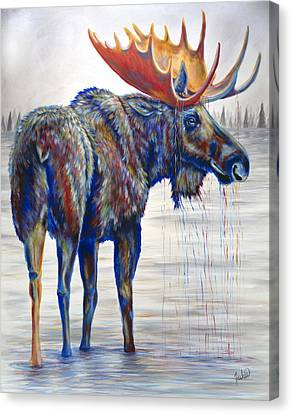 Majestic Moose Canvas Print by Teshia Art