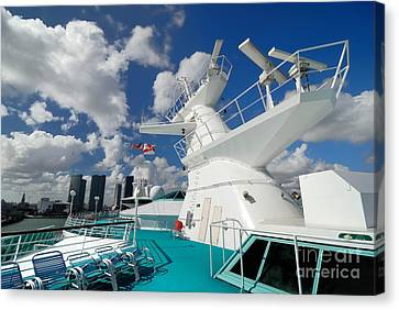 Majesty Of The Seas Upper Deck Satellite Equipment Canvas Print by Amy Cicconi