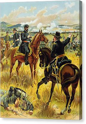 Major General George Meade At The Battle Of Gettysburg Canvas Print by Henry Alexander Ogden