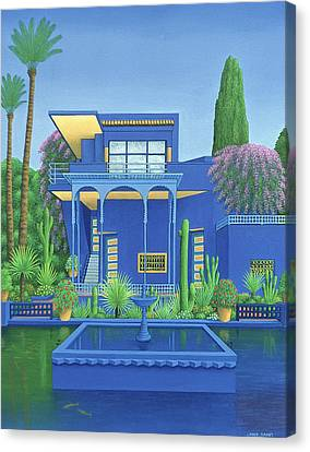 Majorelle Gardens, Marrakech, 1996 Carylic On Linen See 186509 Canvas Print by Larry Smart