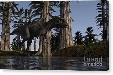 Majungasaurus Hunting For Food Canvas Print by Kostyantyn Ivanyshen