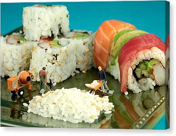 Making Sushi Little People On Food Canvas Print by Paul Ge