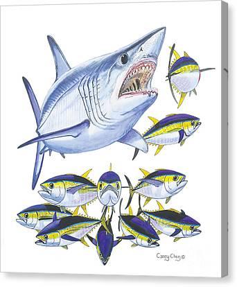 Mako Attack Canvas Print by Carey Chen