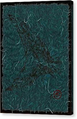 Mako Tail On Pale Blue Unryu/mulberry Paper Canvas Print by Jeffrey Canha