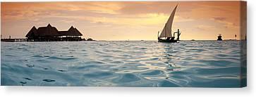 Maldivian Dhoni Sunset Canvas Print by Sean Davey