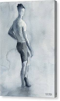 Male Figure Watercolor Painting Black And White Canvas Print by Beverly Brown Prints
