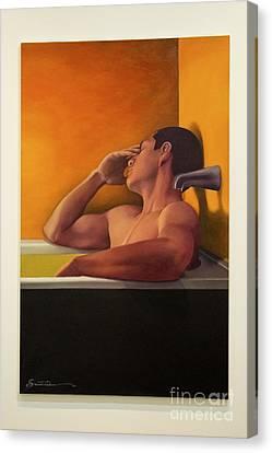 Male Unwinding In The Bath Canvas Print by Al Bourassa