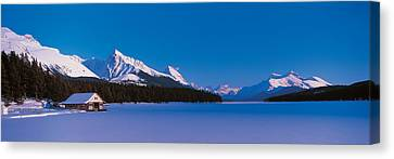 Maligne Lake & Canadian Rockies Alberta Canvas Print by Panoramic Images